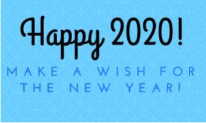 happy 2020 make a wish for the new year on blue background