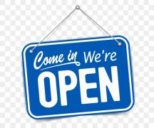 Blue sign with white lettering says Come In, We're Open!