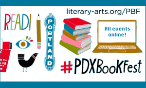 Symbols of Portland marque, pencil, eye, books, computer and hashtag #PDXBookFest