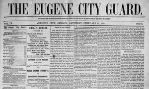 A cover of the historic newspaper Eugene City Guard