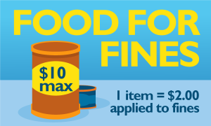 Food for fines text next to a can of food