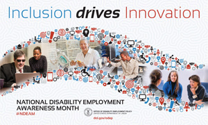 Inclusion drive innovation poster showing diverse workers