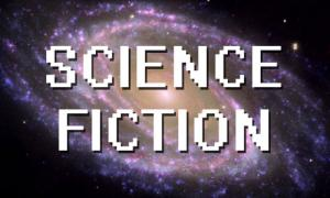 "the galaxy with the words, ""science fiction"""