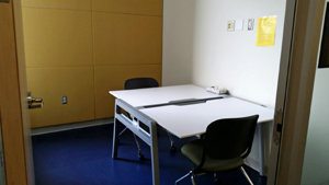 individual study room with two chairs
