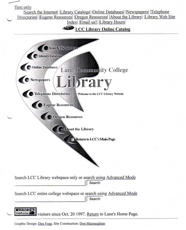 LCC Library mainpage 1997