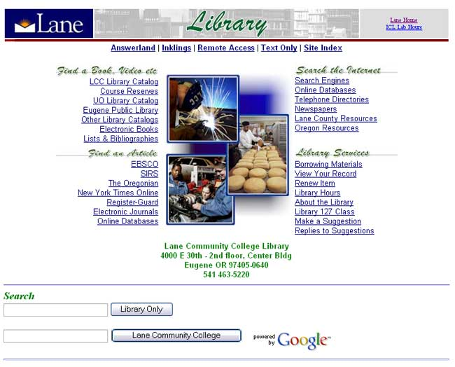 LCC Library mainpage 2000