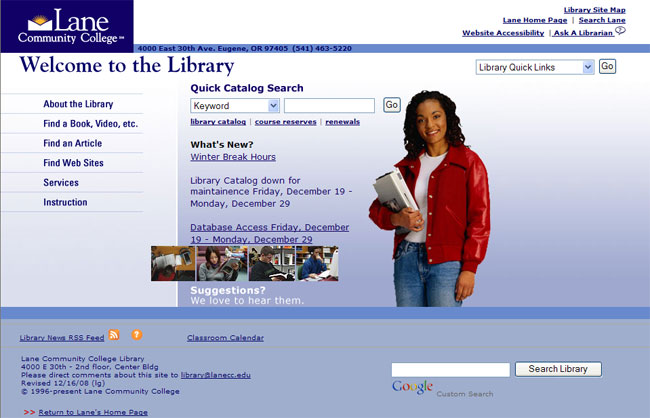 LCC Library mainpage 2004