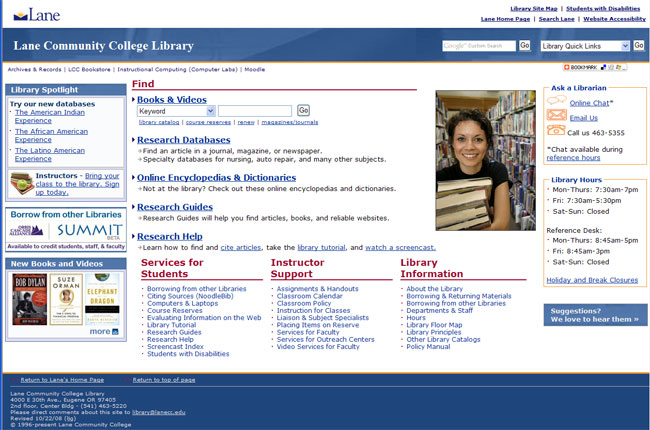LCC Library mainpage 2009