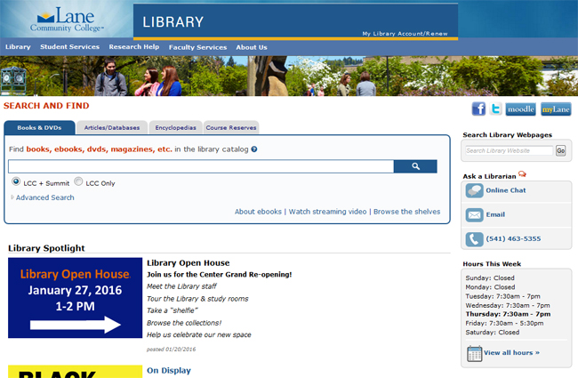 LCC Library mainpage 2016